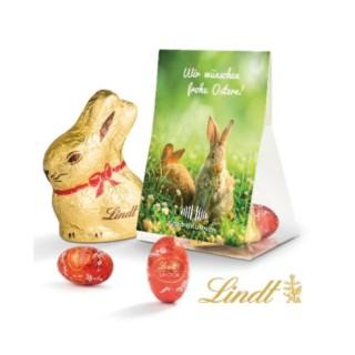 Lindt Goldhase in Beutel mit Werbung zu Ostern als Werbeartikel bedrucken