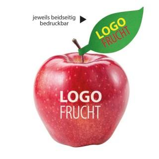 Apfel mit Logo und Schild bedrucken