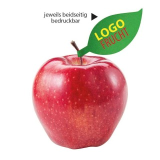 Apfel mit Schild als Apfelblatt Anhänger bedrucken