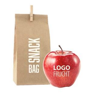 Apfel mit Logo in Werbetüte bedrucken als Snackbag