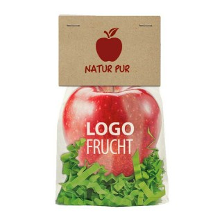 Apfel im Standbeutel bedrucken als Werbeartikel
