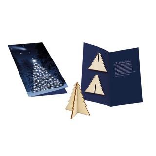 Weihnachtliche Karte mit Holz-Stecktanne bedrucken