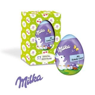 Milka Osterei gefüllt mit leckeren Schokolinsen als Werbepräsent bedrucken
