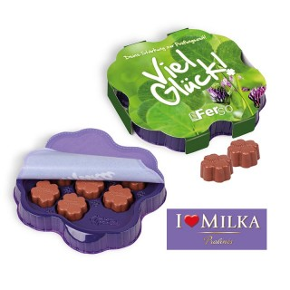 Milka Kleeblatt als Kleines Dankeschön Werbeartikel bedrucken mit Markenschokolade