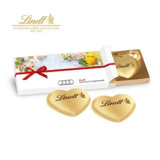 Lindt Herzen in Präsentschachtel bedrucken mit eigenem Werbemotiv zu Ostern