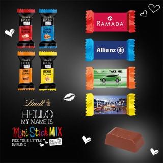 Lindt Hello Minis im Werbeschuber als Oster Werbeartikel mit eigenem Logo bedrucken