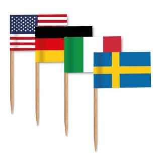 Zahnstocherfähnchen diverse Länder als Mischung oder sortenrein bestellen