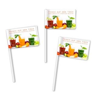 Minifähnchen in Standardqualität am Plastikstäbchen mit eigenem Logo bestellen
