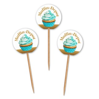 Runde Muffinpicker bedrucken mit eigenem Logo