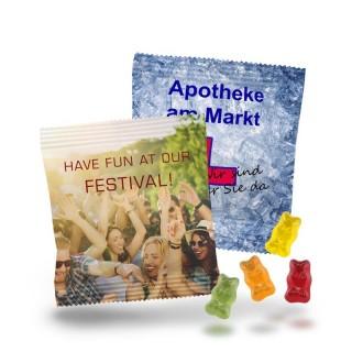 Werbe Gummibären als kleine Give-Away Portionen bedrucken mit Foto