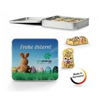 Metallbox Made in Germany mit Schoko Osterhasen individuell bedrucken eigenes Logo