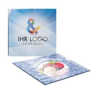 Quadratische Acrylglas Glasuntersetzer bedrucken mit eigenem Logo