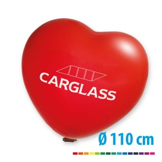 Riesenballons 110 cm in Herzform als Riesenherzballon mit Logo bedrucken