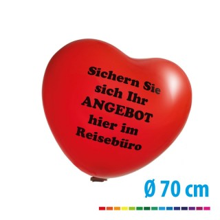 Riesenballon 70 cm als Herzballon mit individuellem Logo bedrucken