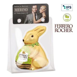 Rocher Ostern bedrucken mit eigenem Logo oder Werbung als Osterhase im Display