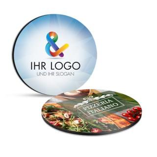 Runde Glasuntersetzer aus Aluverbundplatte bedrucken mit eigenem Logo und Grafik