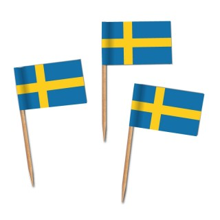 Käsepicker, Partypicker, Spieße, Party, Partydeko, Dekoration, Dekorationen, Kanapee, Canapé, Fahne, Flagge, Kostprobenpicker, Miniflagge, Miniflaggen, Minifahne, Minifahnen, Holzpicker Schweden Fahne, Picker Schwedenflagge