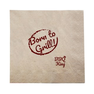 Serviette 40cm Born to Grill BBQ King bedrucken im Öko Look
