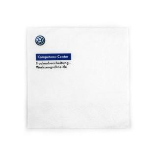 Servietten mit Volkswagen Logo im Digitaldruck mit eigenem Logo