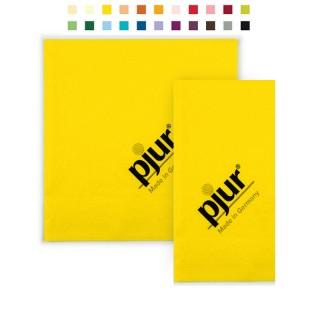 Serviette Gelb mit Pjur Motiv bedrucken als individueller Werbeartikel