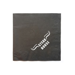 Steakhouse Servietten vollflächig bedrucken schwarz mit weißem Logo