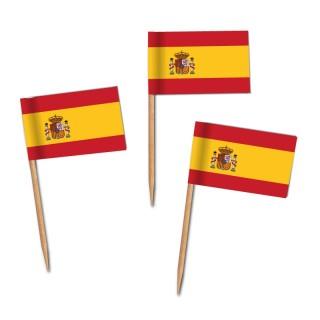 Käsepicker, Partypicker, Spanien, Spieße, Party, Partydeko, Dekoration, Dekorationen, Kanapee, Canapé, Fahne, Flagge, Kostprobenpicker, Miniflagge, Miniflaggen, Minifahne, Minifahnen, Holzpicker, Picker, Spanien, España