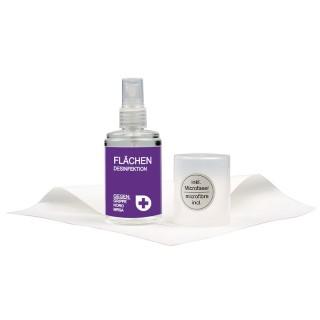 100ml Desinfektionsspray mit Reinigungstuch (ab 96 Stück)