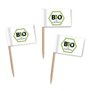Bio Zahnstocherfähnchen mit Siegel als Logo sechseckig