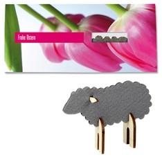 Karte mit Steckfigur Schaf als Lamm aus Filz und Holz Werbeartikel