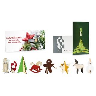 Steckfigurenkarte aus Holz und Filz bedrucken
