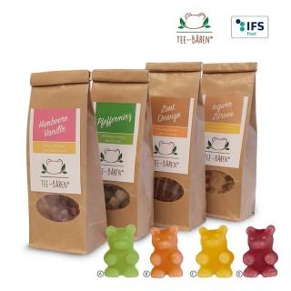 Tee-Bären in Papier-Standbeutel mit Etikett bedrucken