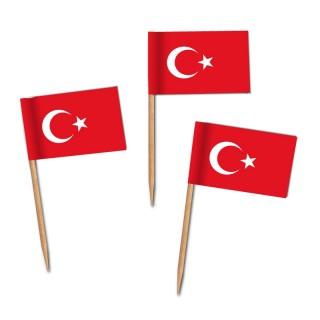 Käsepicker, Partypicker, Spieße, Party, Partydeko, Dekoration, Dekorationen, Kanapee, Canapé, Fahne, Flagge, Kostprobenpicker, Miniflagge, Miniflaggen, Minifahne, Minifahnen, Holzpicker Türkei Fahne, Picker Türkei Flagge