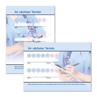 Terminzettel für Praxis mit Logo als Terminblock A7, 50 Blatt (ab 50 Stück)