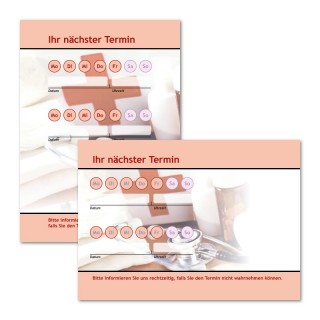 Terminzettel für Behandlung mit Logo als Terminblock A7, 50 Blatt (ab 50 Stück)