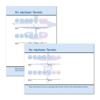 Terminzettel Hermesstab mit Logo als Terminblock A7, 50 Blatt (ab 50 Stück)
