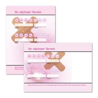 Terminzettel Pflaster mit Logo als Terminblock A7, 50 Blatt (ab 50 Stück)