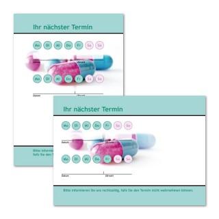 Terminzettel Pille mit Logo als Terminblock A7, 50 Blatt (ab 50 Stück)