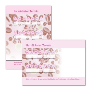 Terminzettel Blut mit Logo als Terminblock A7, 50 Blatt (ab 50 Stück)