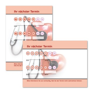 Terminzettel Kardio mit Logo als Terminblock A7, 50 Blatt (ab 50 Stück)