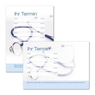 Terminzettel Arzt Stethoskop mit Logo als Terminblock A7, 50 Blatt (ab 50 Stück)