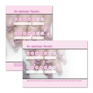 Terminzettel Nagelstudio Pink mit Logo als Terminblock A7, 50 Blatt (ab 50 Stück)