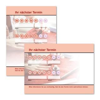 Terminzettel Nagellack Rot mit Logo als Terminblock A7, 50 Blatt (ab 50 Stück)