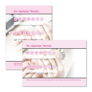 Terminzettel Kosmetik Pink mit Logo als Terminblock A7, 50 Blatt (ab 50 Stück)