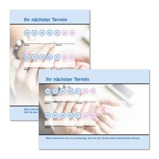 Terminzettel Nagelstudio Blau mit Logo als Terminblock A7, 50 Blatt (ab 50 Stück)
