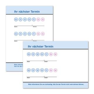 Terminzettel bedrucken: Neutral blau, 1. Ansicht