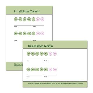 Terminzettel drucken: Neutral Grün mit Logo