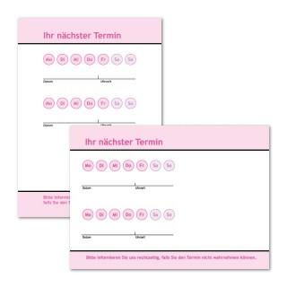 Terminzettel drucken: Neutral Pink mit Logo als Terminblock A7