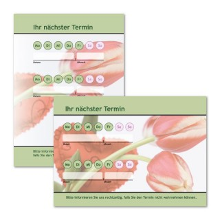 Terminzettel: Blume Grün mit Logo als Terminblock A7, 50 Blatt (ab 50 Stück)