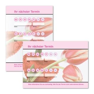 Terminzette: Blume Pink mit Logo als Terminblock A7, 50 Blatt (ab 50 Stück)