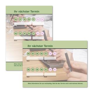 Terminzettel: Grün mit Logo als Terminblock A7, 50 Blatt (ab 50 Stück)
